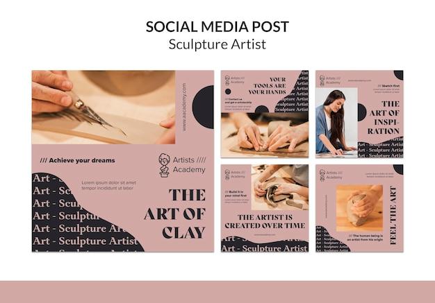 Instagram-berichtenverzameling voor beeldhouwworkshop