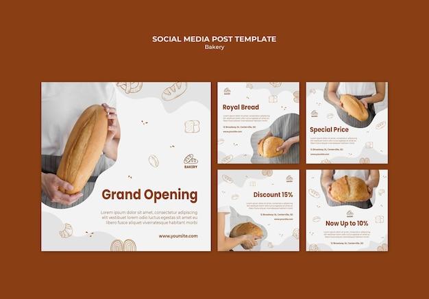 Instagram-berichtenverzameling voor broodbakwinkel
