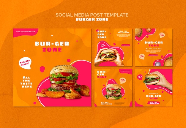 Instagram-berichtenverzameling voor burgerrestaurant