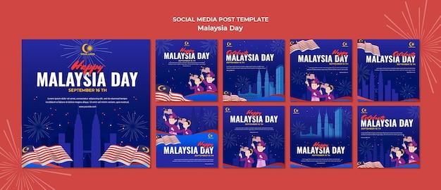 Instagram-berichtenverzameling voor de viering van de dag van maleisië