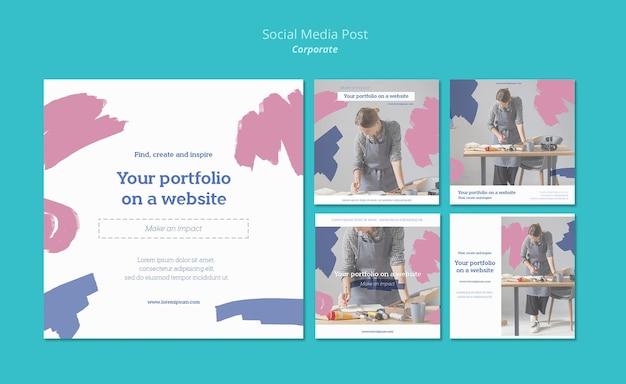 Instagram-berichtenverzameling voor het schilderen van portfolio op de website