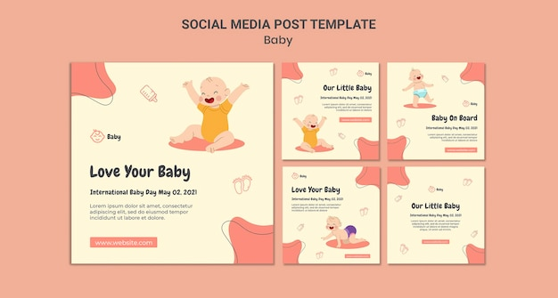 Instagram-berichtenverzameling voor internationale babydag