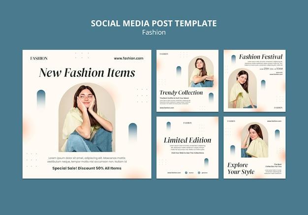 Instagram-berichtenverzameling voor modestijl en kleding met vrouw