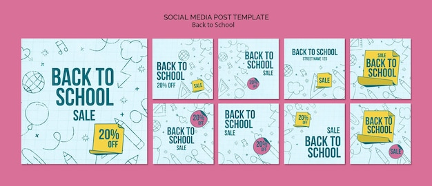 Instagram-berichtenverzameling voor terug naar school