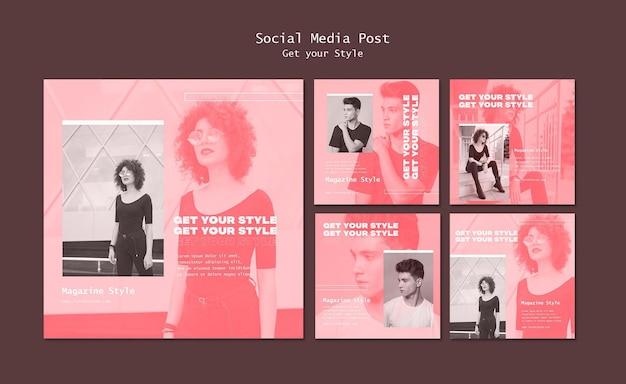 Instagram-berichtenverzameling voor tijdschrift in elektronische stijl
