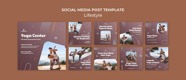 Instagram-berichtenverzameling voor yoga-oefeningen en -oefeningen