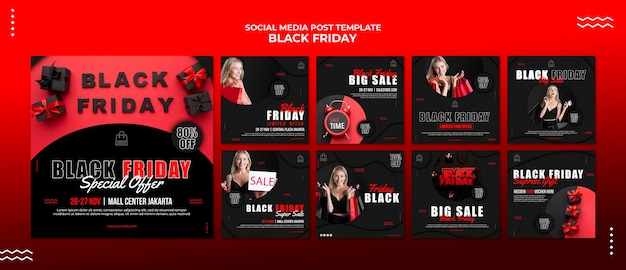 Instagram-berichtenverzameling voor zwarte vrijdaguitverkoop