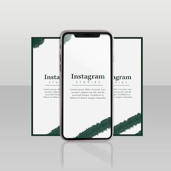 Instagram-berichtsjabloon met smartphone en bloemenconcept