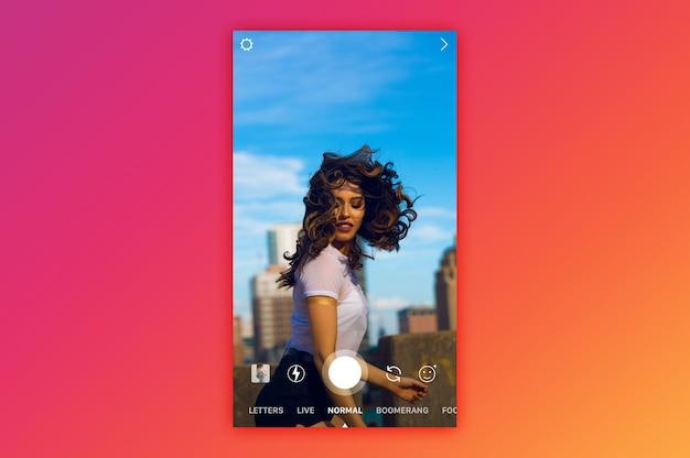Instagram cámara en vivo rollo maqueta