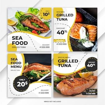 Instagram feed post bundel voedsel sjabloon
