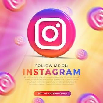 Instagram glanzend logo en postsjabloon voor sociale media