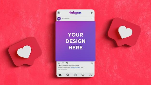 Instagram-interface voor sociale media plaatsen mockup rode achtergrond 3d render