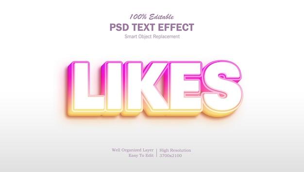 Instagram-kleur bewerkbaar 3d-teksteffect