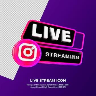 Instagram live streaming 3d render pictogram badge geïsoleerd