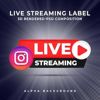 Instagram live streaming 3d render pictogram badge