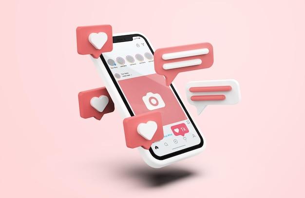 Instagram en maqueta de teléfono móvil blanco con iconos 3d