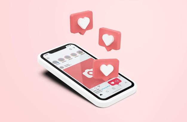 Instagram en maqueta de teléfono móvil blanco con iconos similares en 3d