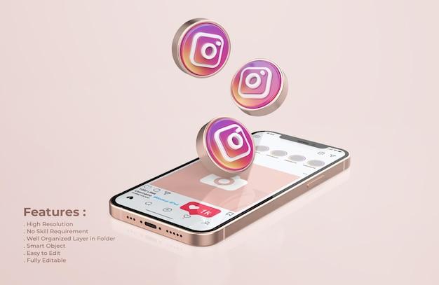 Instagram en maqueta de teléfono móvil de oro rosa