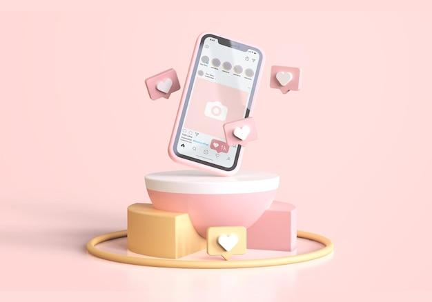 Instagram en maqueta de teléfono móvil rosa con iconos 3d