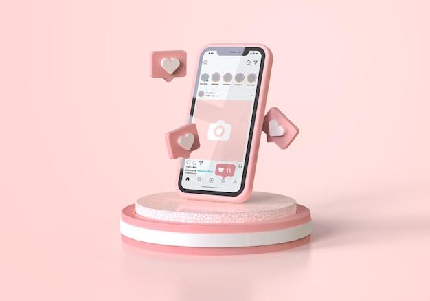 Instagram en maqueta de teléfono móvil rosa