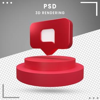 Instagram de mensaje de logotipo girado 3d