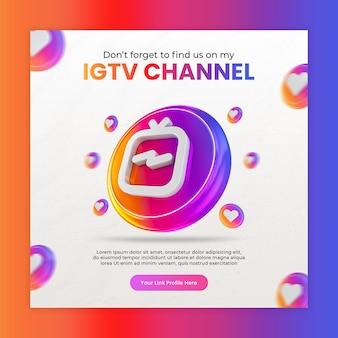 Instagram met 3d ig tv-pictogram voor sociale media en instagram-post
