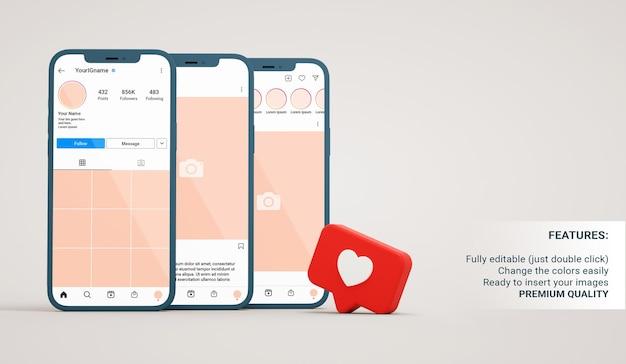Instagram-mockup van profiel-, post- en feedinterfaces in smartphones met like-melding in 3d-rendering