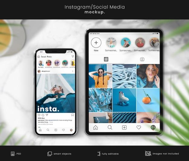 Instagram-mockup voor smartphone- en tabletschermen