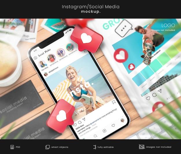 Instagram-mockup voor sociale media met mockups voor visitekaartjes en boeken
