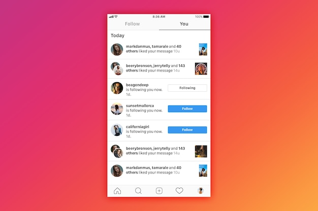Instagram notifica mockup