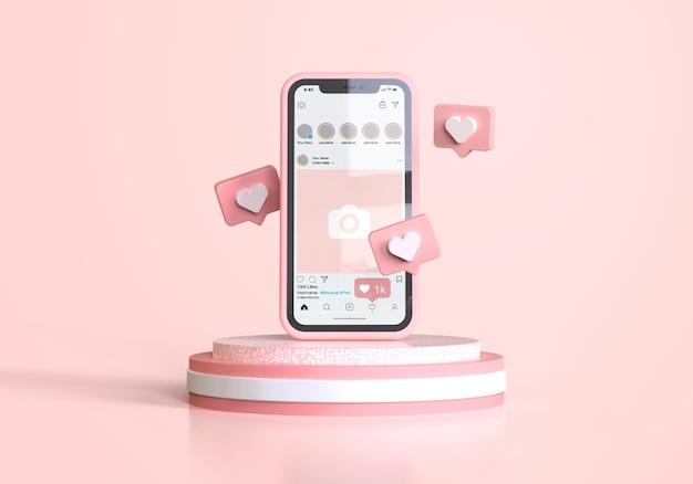 Instagram op roze mobiele telefoonmodel