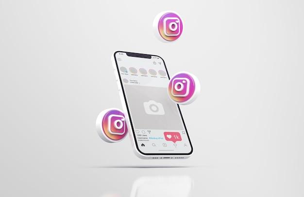 Instagram op witte mobiele telefoon mockup met 3d-pictogrammen