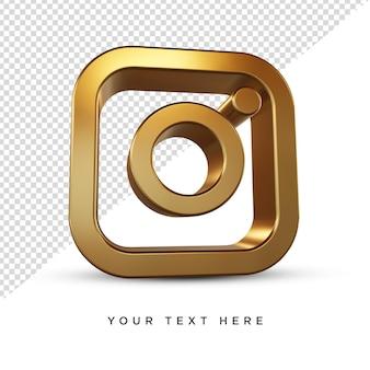 Instagram-pictogram 3d-rendering gouden isoleted isolatedbackground