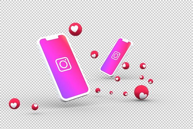 Instagram-pictogram op smartphones en instagram-reacties op het scherm