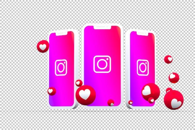 Instagram-pictogram op smartphoneschermen met emoji's