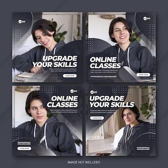 Instagram post banner bundel online curses-sjabloon