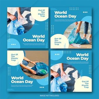 Instagram post bundle world oceans day template