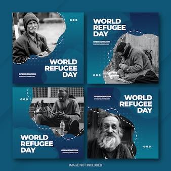 Instagram post bundle world refugee day template