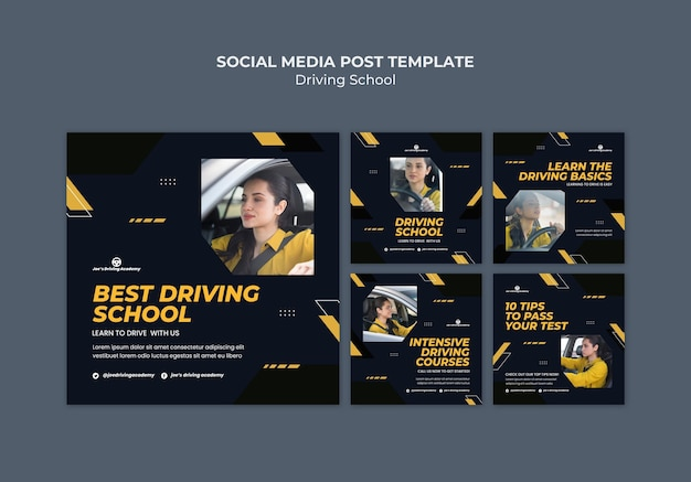 Instagram post collectie voor rijschool met vrouwelijke chauffeur