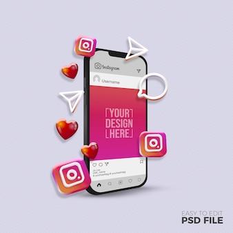 Instagram post mockup ontwerpweergave