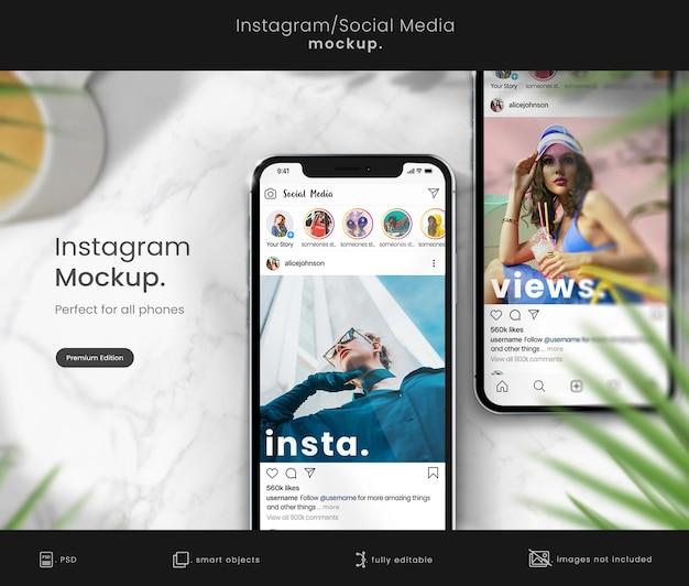 Instagram post mockup op verzameling smarphones
