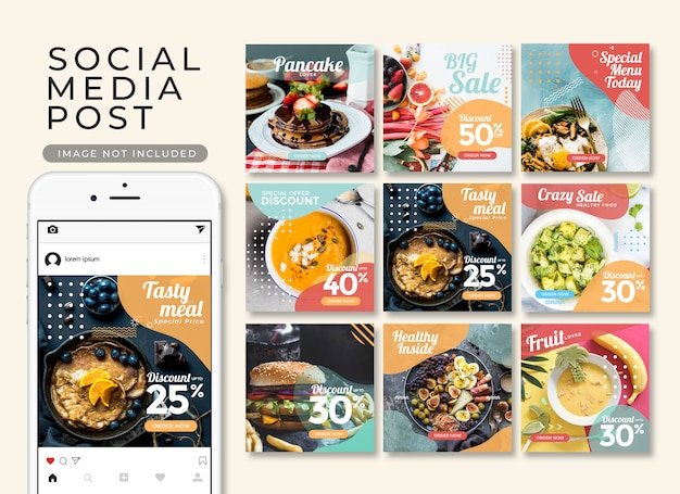 Instagram-post of vierkante banner, fastfood sjablooncollectie