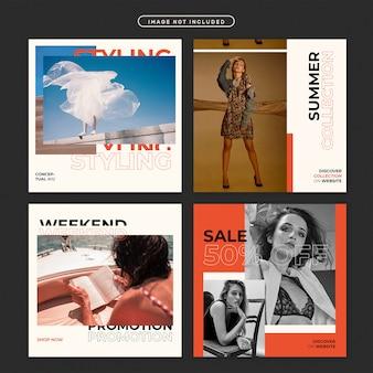 Instagram-post of vierkante flyer met mode-themaset