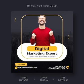 Instagram-post van digitaal marketingbureau en sjabloon voor spandoek voor sociale media