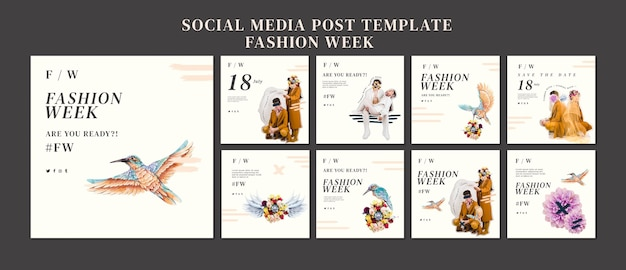 Instagram posts collectie voor fashion week