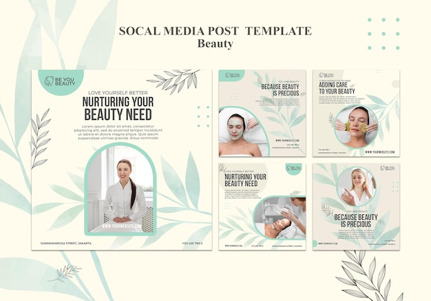 Instagram posts collectie voor huidverzorging en schoonheid met vrouw