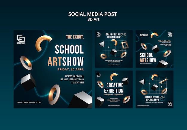 Instagram posts collectie voor kunsttentoonstelling met creatieve driedimensionale vormen