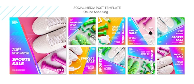 Instagram posts collectie voor online sportverkoop