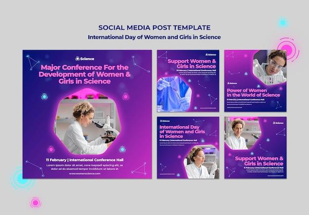 Instagram-postverzameling voor internationale dag van vrouwen en meisjes in wetenschapsviering met vrouwelijke wetenschapper