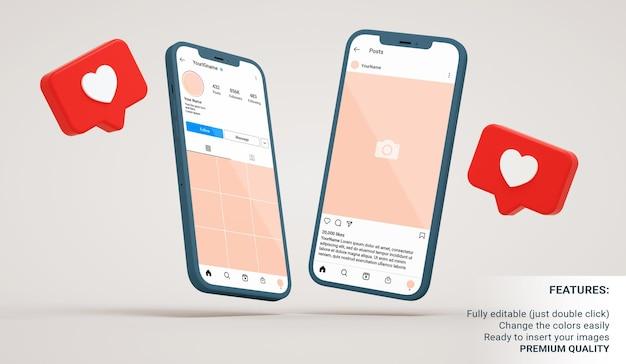 Instagram-profiel en post-interfaces mockup in zwevende telefoons met soortgelijke meldingen in 3d-rendering